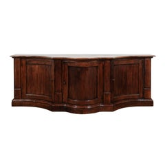 Italian 1800s Walnut Serpentine Three-Door Buffet with Drawer and Pilasters