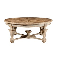 Neoclassical Style Italian Painted Round Dining Table with Column Legs and Inlay