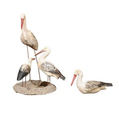 Set of Sicilian Painted Stone Shorebird Sculptures from the Early 20th Century