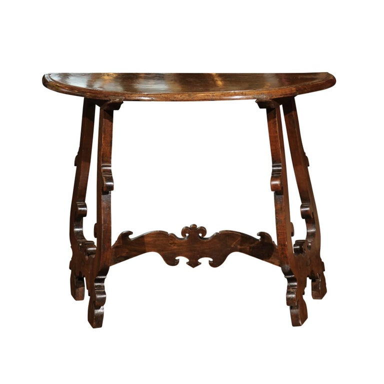 Florentine Baroque Revival Walnut Demilune Table with Lyre Shaped Base, 1880s