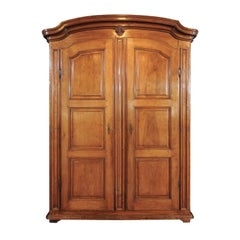 Large Italian Walnut Armoire, circa 1800 with Paneled Doors and Scrolled Motifs