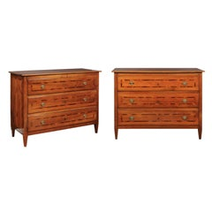 Pair of Neoclassical 1790s Italian Walnut Commodes with Diamond Inlaid Décor