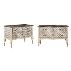 Venetian 1860s Hand-Painted Serpentine Two-Drawer Commodes with Silver Accents