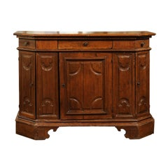 Italian Walnut Credenza from Siena with Canted Corners from the 19th Century