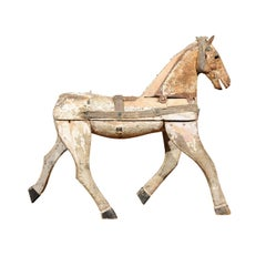 Italian Archaic Toy Horse Wooden Sculpture with Weathered Patina, circa 1860