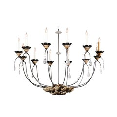 12-Light Contemporary Chandelier with Rock Crystals and Italian Carved Medallion