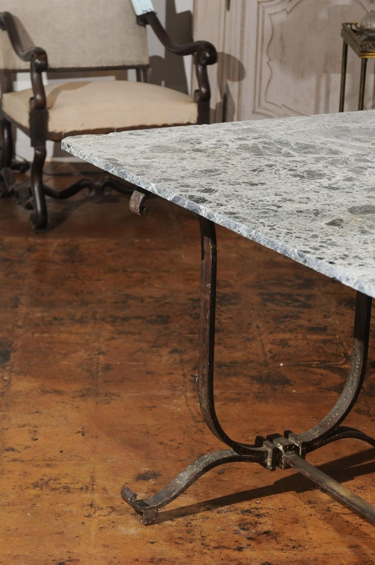 French Vintage Wrought-Iron Garden Table with Original Marble Top ...