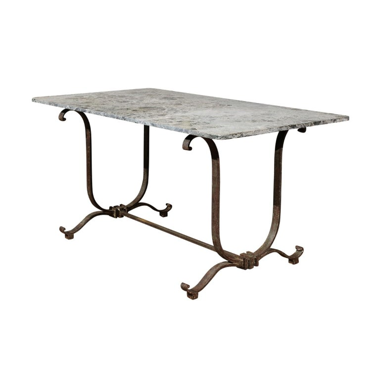 French Vintage Wrought-Iron Garden Table with Original Marble Top, circa 1940
