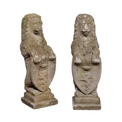 Pair of English Armorial Carved Stone Lion Sculptures with Shields, circa 1920
