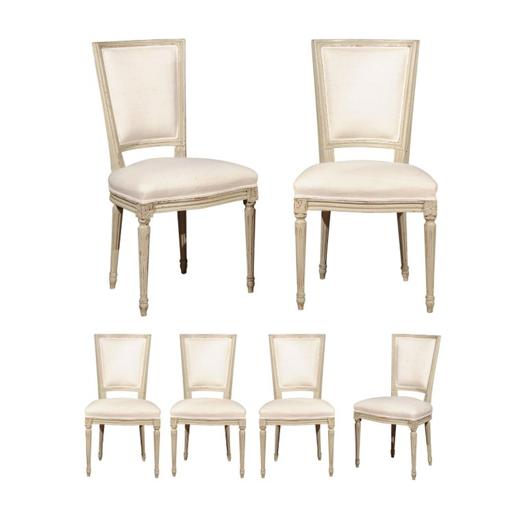 Set of Six French Louis XVI Style Painted Dining Chairs with Linen Upholstery