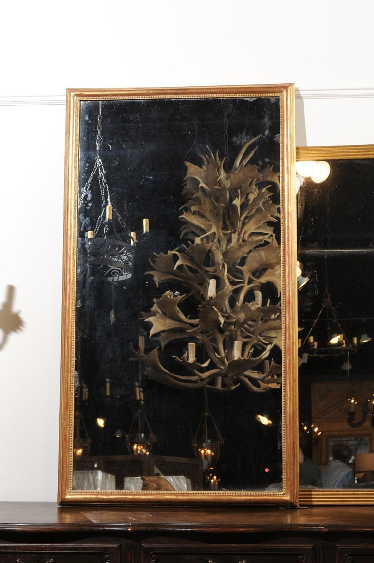 French 19th Century Tall Mirror with Beaded Motifs and Original Mercury Glass In Good Condition For Sale In Atlanta, GA