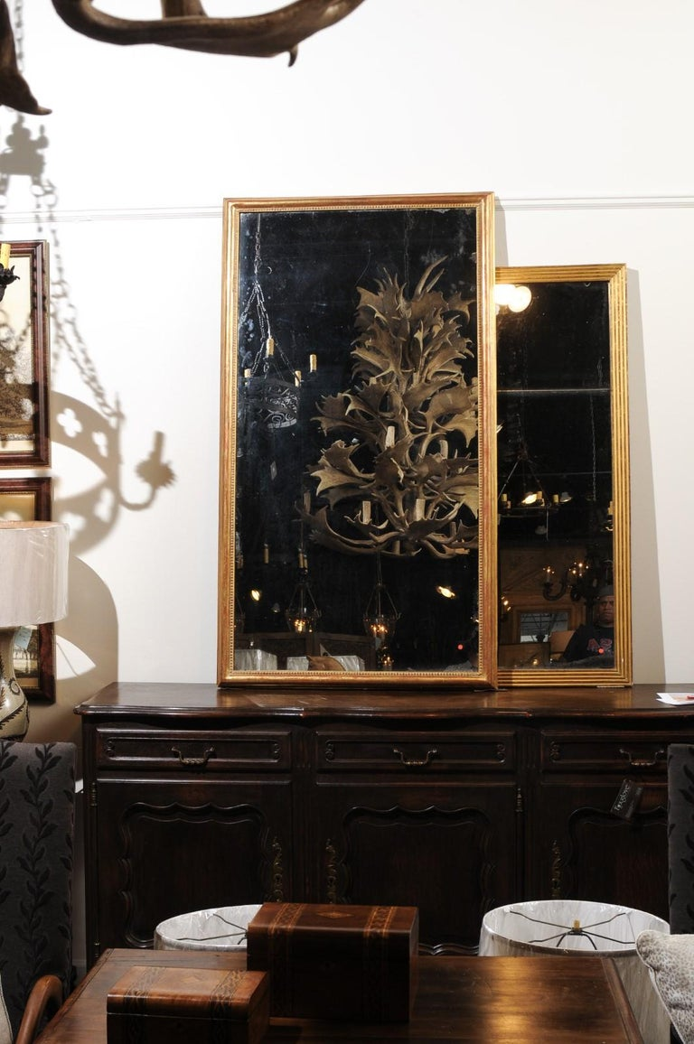 French 19th Century Tall Mirror with Beaded Motifs and Original Mercury Glass For Sale 1