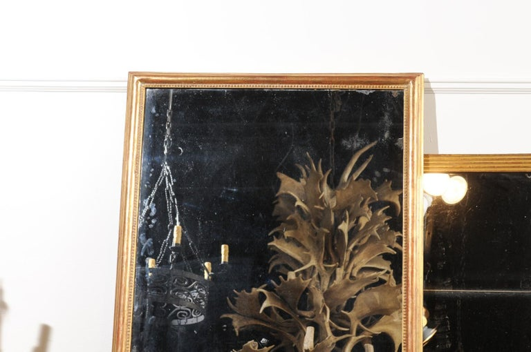 French 19th Century Tall Mirror with Beaded Motifs and Original Mercury Glass For Sale 2