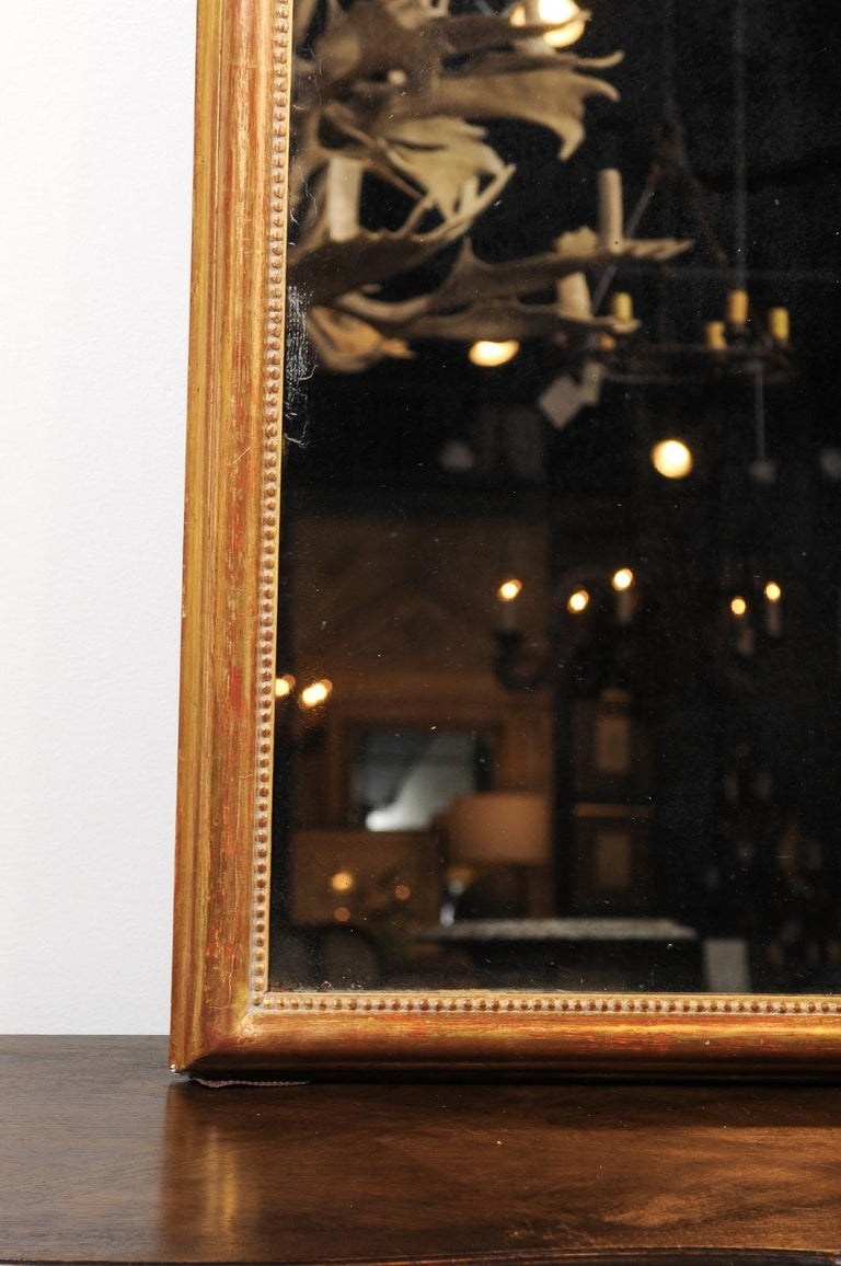French 19th Century Tall Mirror with Beaded Motifs and Original Mercury Glass For Sale 4
