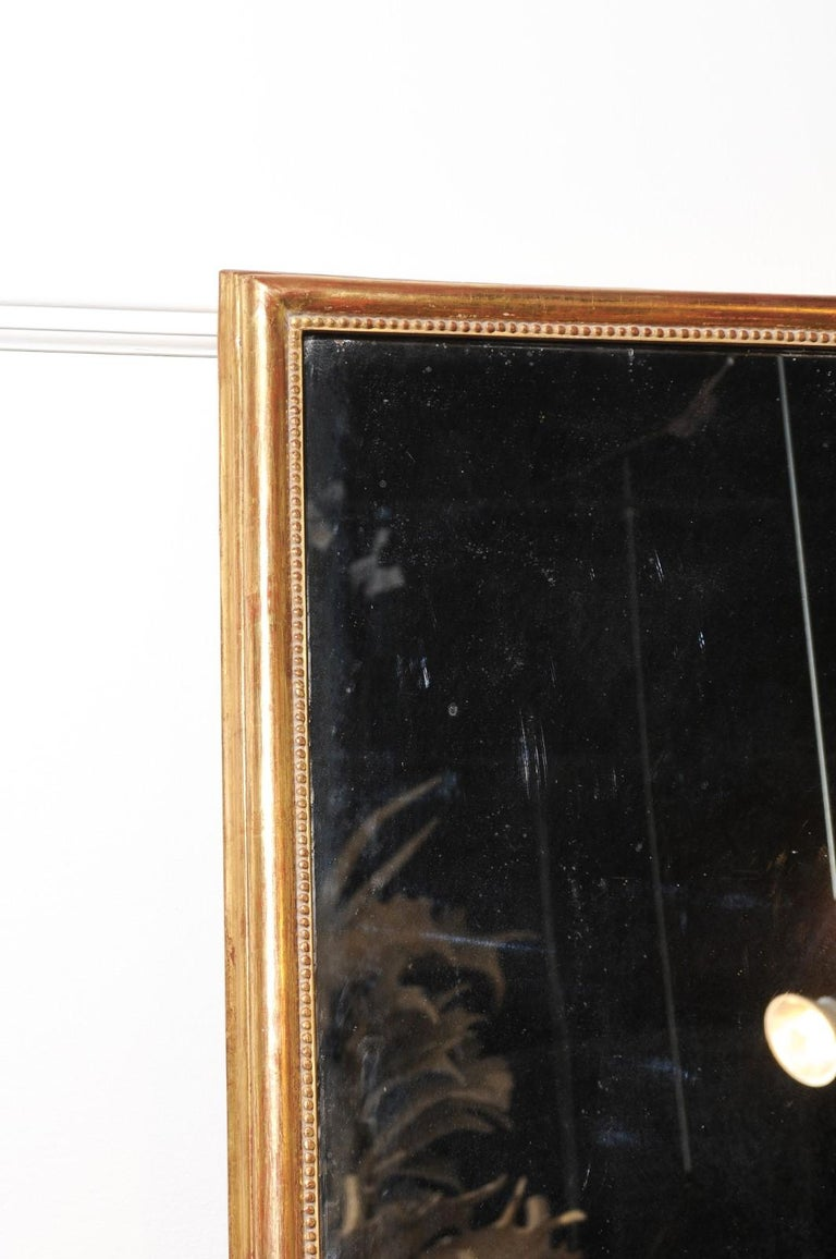 French 19th Century Tall Mirror with Beaded Motifs and Original Mercury Glass For Sale 5