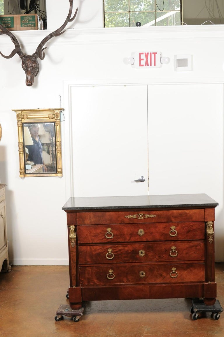 Veneer French 1830s Empire Style Four-Drawer Mahogany Commode with Bronze Mounts For Sale