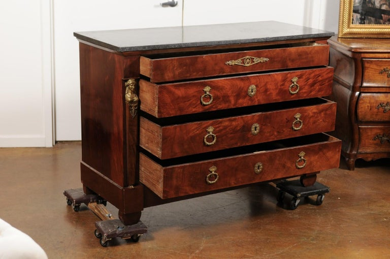 French 1830s Empire Style Four-Drawer Mahogany Commode with Bronze Mounts For Sale 1