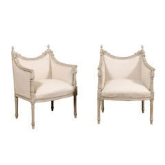 Pair of French Louis XVI Style 19th Century Painted Bergères with Square Backs