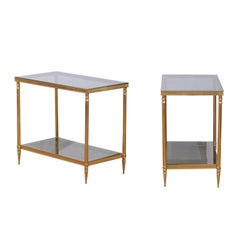 Pair of French 1950s Vintage Brass Side Tables with Glass Top and Shelves