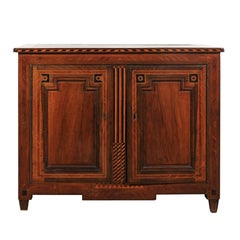 French Neoclassical Style Mahogany Buffet with Marquetry Inlay from the 1850s