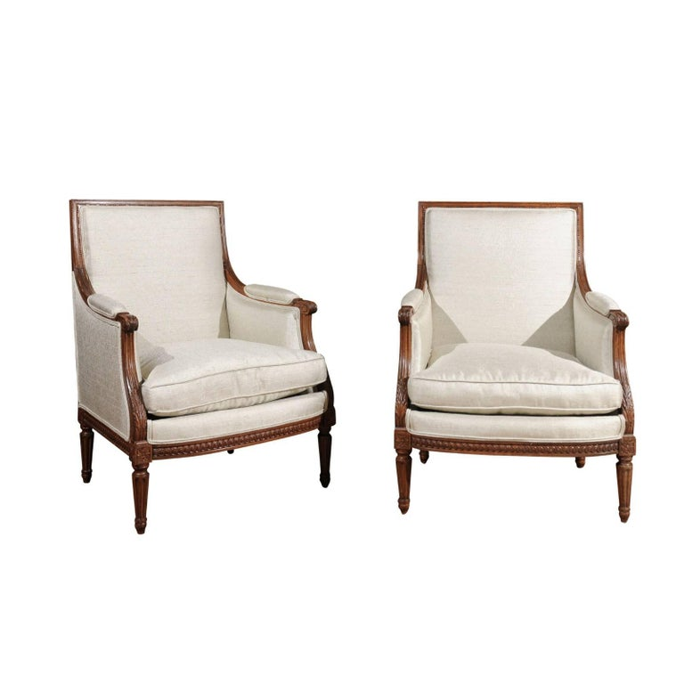 Pair of Louis XVI Style 19th Century French Bergères Chairs with Upholstery
