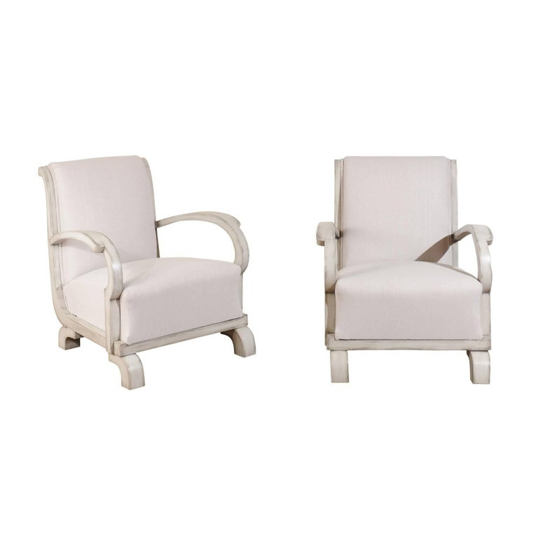 Pair of Art Deco Early 20th Century Period Upholstered Club Chairs