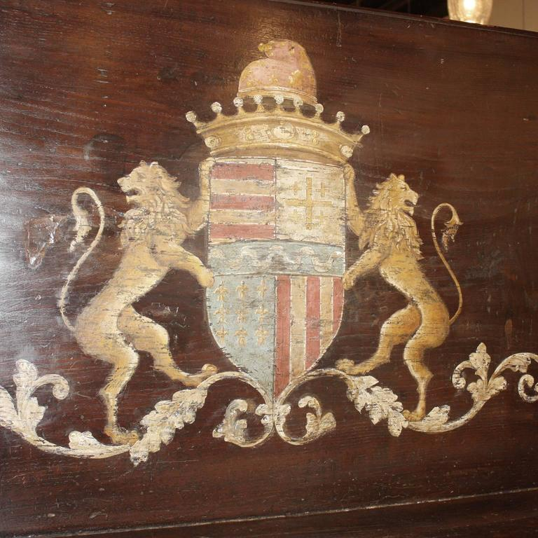 Italian Wooden Hall Bench with Painted Coat of Arms and Hinged Seat Circa 1800 3