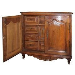 French Walnut Commode with Two Doors and Multiple Inner Drawers Circa 1870