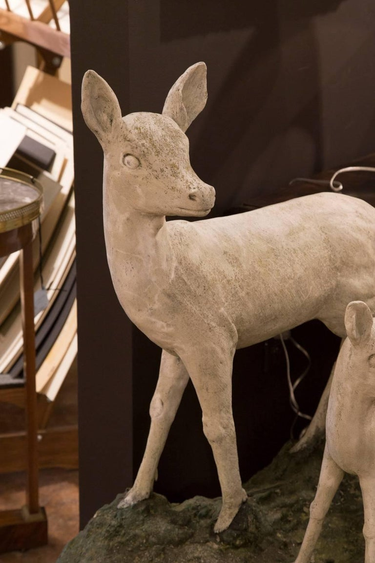 Pair of English Mid-Century Cast Stone Sculptures of a Doe and Her Fawn on Base For Sale 1