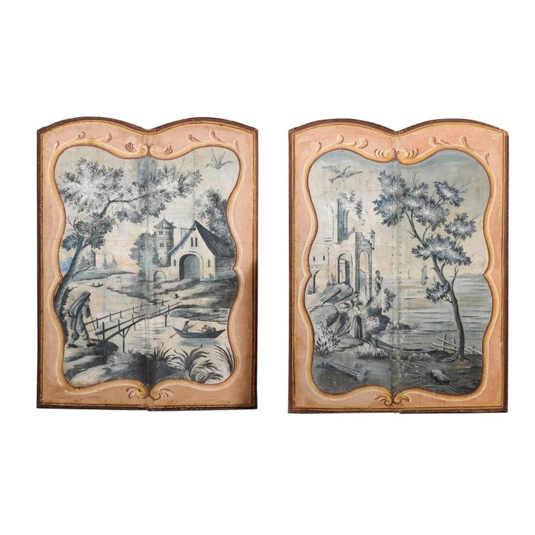Pair of French 1780s Trompe-l'Oeil Grisaille Hand-Painted Pastoral Screens