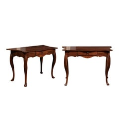 Pair of Italian 1880s Walnut Console Tables with Serpentine Top and Drawer