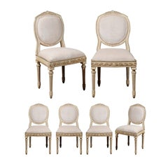 Set of Six French Neoclassical Silver Gilt Dining Chairs with Vitruvian Scroll