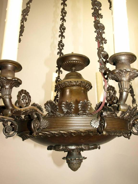 Bronze Antique Chandelier, Empire Style Chandelier For Sale