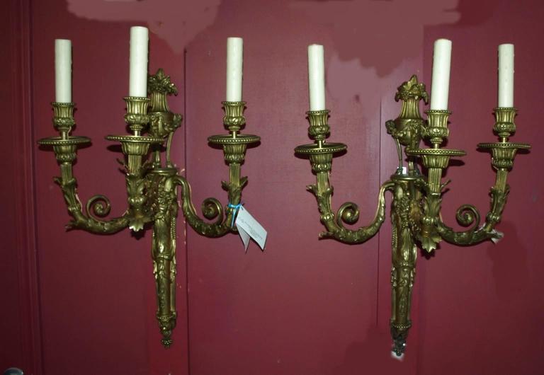Louis XVI Antique Bronze Sconces For Sale