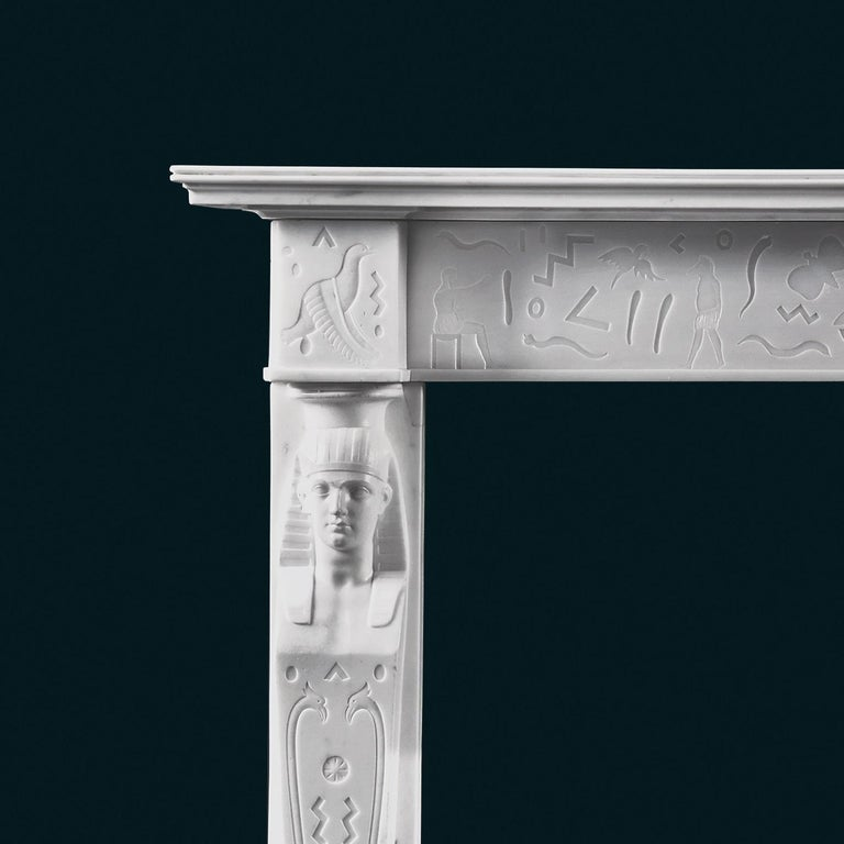 British Rare, English Regency Neoclassical Egyptian Style Statuary Marble Fireplace For Sale