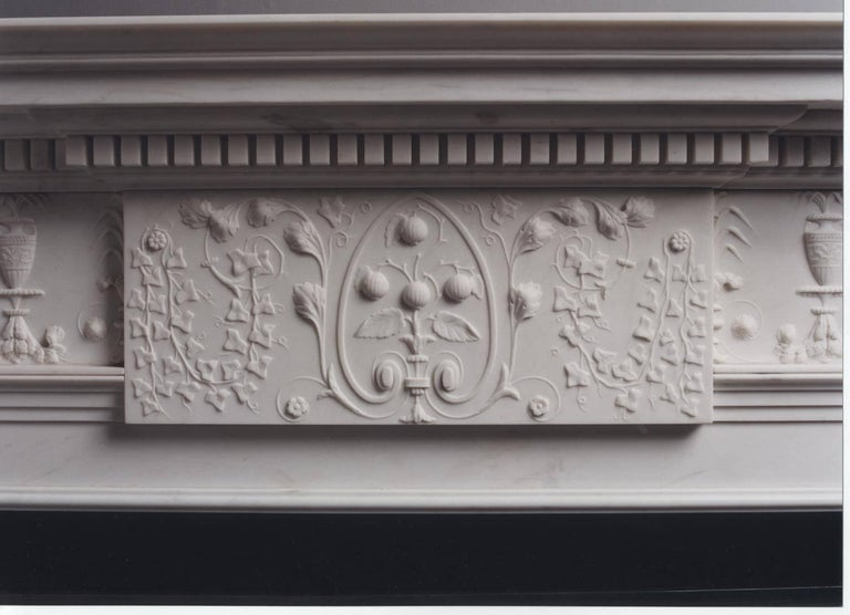 Neoclassical Jamb, Portman Reproduction Fireplace in White Marble For Sale