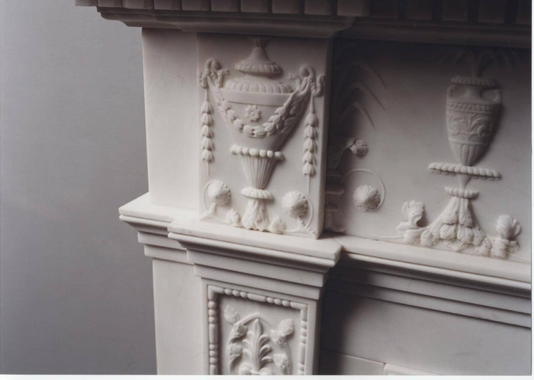 British Jamb, Portman Reproduction Fireplace in White Marble For Sale