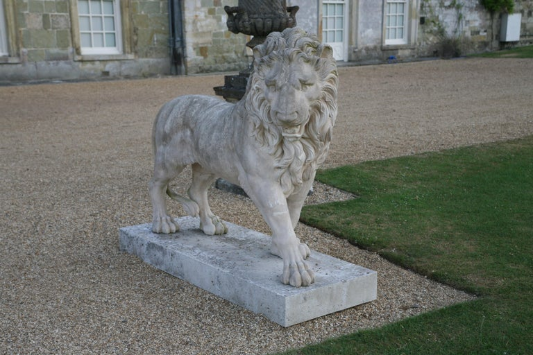 European Large Pair of Coade Standing Lions  For Sale