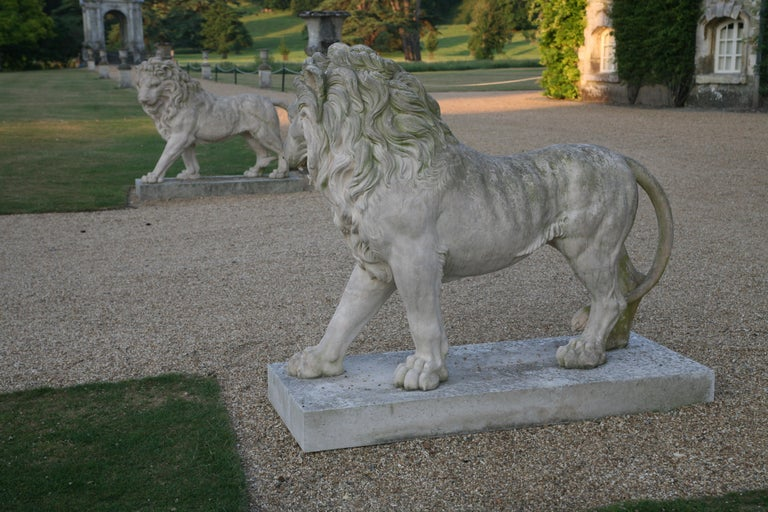 Large Pair of Coade Standing Lions  In Good Condition For Sale In London, GB