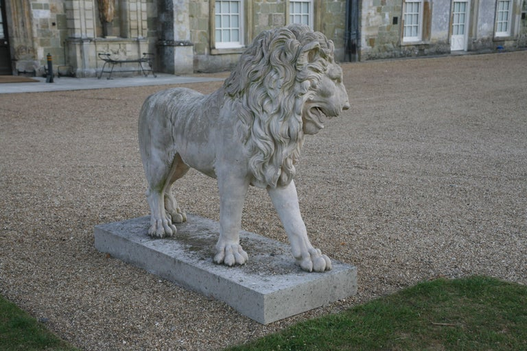 Contemporary Large Pair of Coade Standing Lions  For Sale