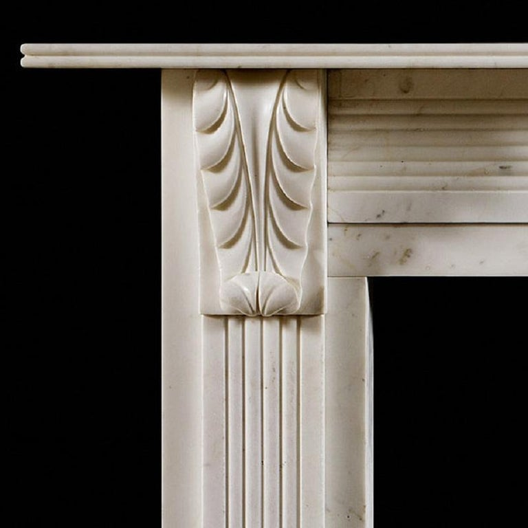 British Antique Regency Period Statuary Marble Fireplace Mantel For Sale