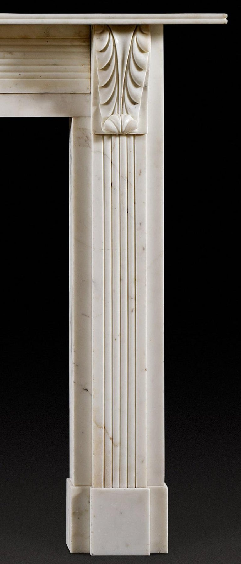 Antique Regency Period Statuary Marble Fireplace Mantel In Good Condition For Sale In London, GB