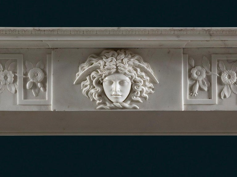Italian Regency Period, Neoclassical Column Fireplace in White Statuary Marble For Sale