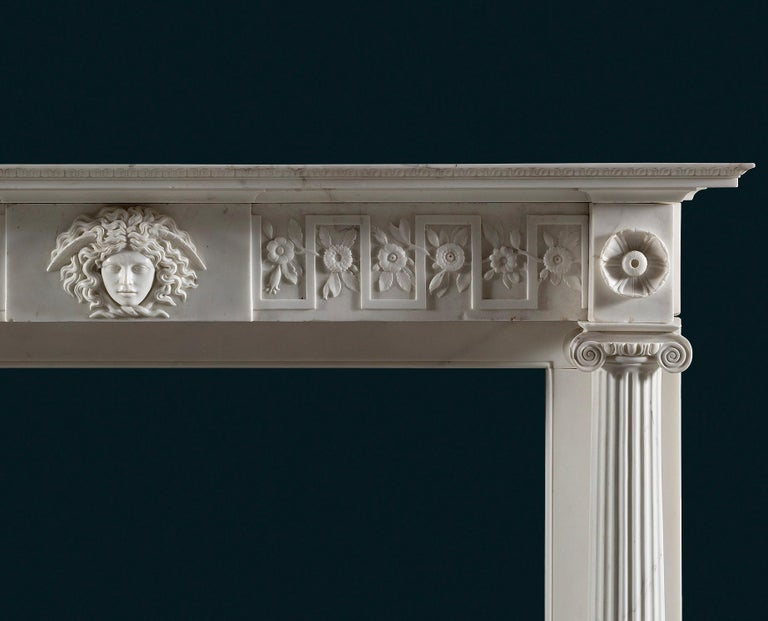 Carved Regency Period, Neoclassical Column Fireplace in White Statuary Marble For Sale