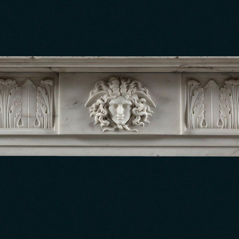 Hand-Carved Exceptional, Regency Period, Neoclassical Fireplace in White Statuary Marble For Sale
