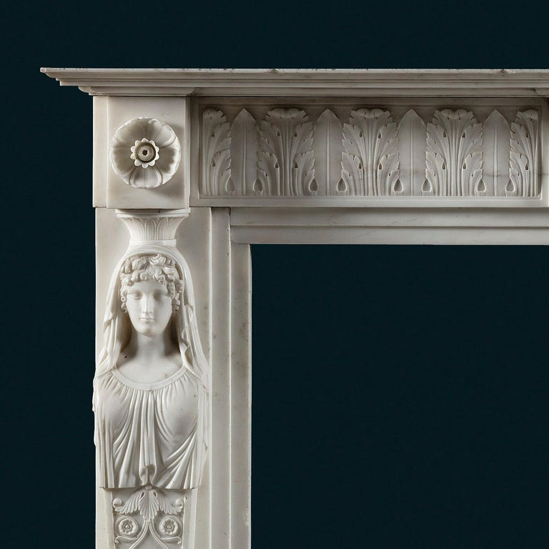 Italian Exceptional, Regency Period, Neoclassical Fireplace in White Statuary Marble For Sale