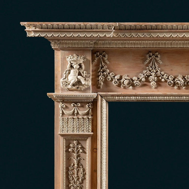 Neoclassical Superb George III, Neo-Classical, Gesso Mounted Pine Fireplace Mantel For Sale