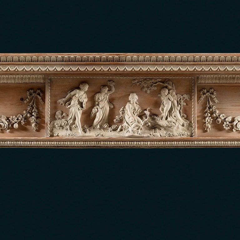 British Superb George III, Neo-Classical, Gesso Mounted Pine Fireplace Mantel For Sale