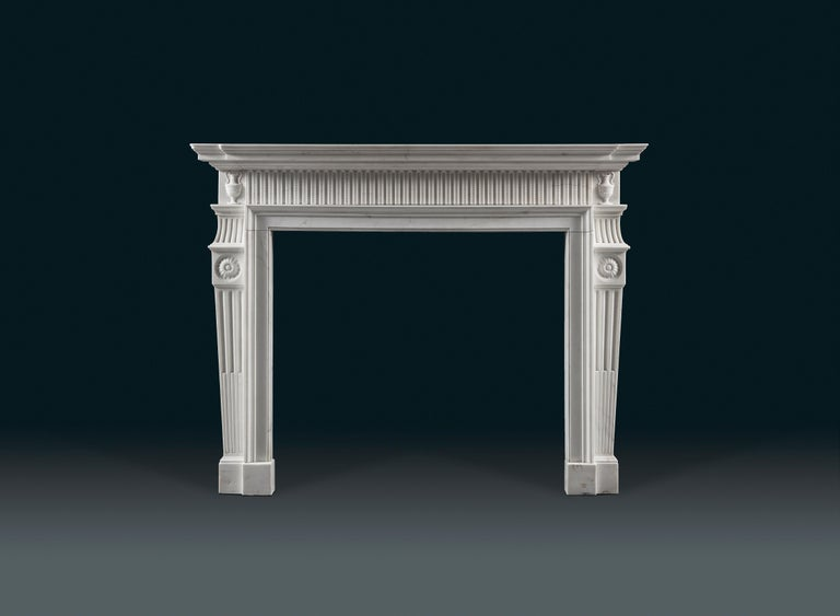An elegant, early George III, Neoclassical statuary marble chimneypiece after a design by the architect, Sir Robert Taylor (1714-1788), circa 1775.