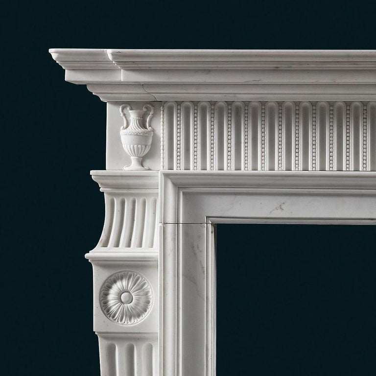 Neoclassical Early George III, Neo-Classical Fireplace Mantel in White Statuary Marble For Sale